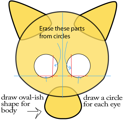 Step 2 : Drawing Baby Anime Kitten in Easy Steps Lesson