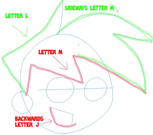 Step 2 : Drawing Danny Phantom. in Easy Steps Lesson