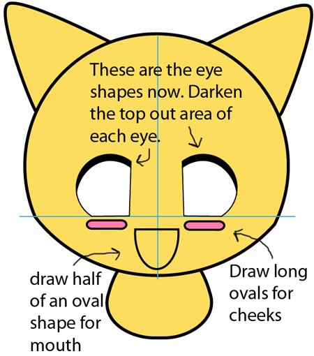 Step 3 : Drawing Baby Anime Kitten in Easy Steps Lesson