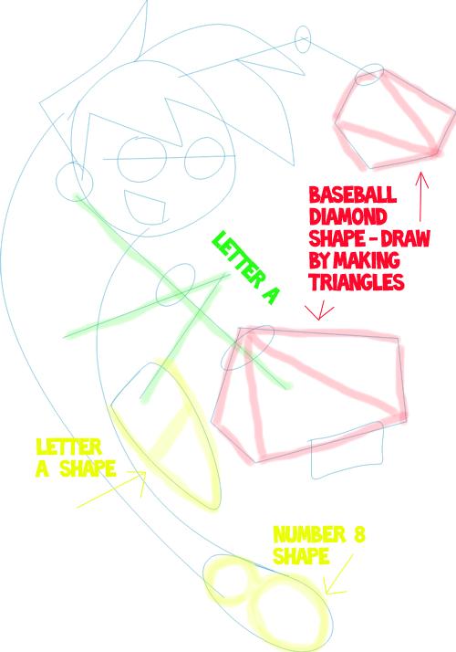 Step 3 : Drawing Danny Phantom. in Easy Steps Lesson