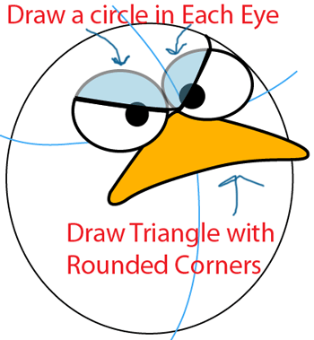 Step 3 : Drawing Blue Angry Bird in Easy Steps Lesson