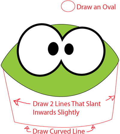 Step 3 : Drawing Om Nom from Cut The Rope in Easy Steps Lesson