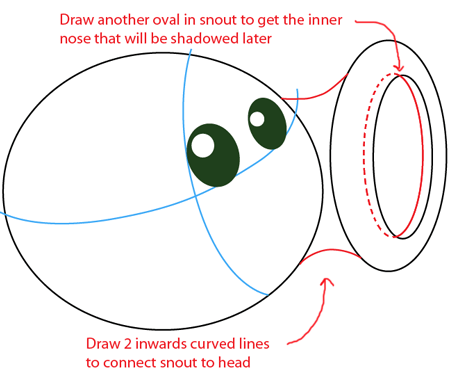 Step 3 : Drawing Pea Shooter from Plants vs. Zombies Game in Easy Steps Lesson