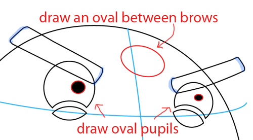 Step 3 : Drawing Black Angry Bird in Easy Steps Lesson