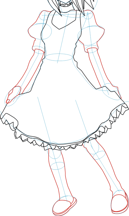 Step 4 : Drawing Nagisa Aoi in Easy Steps Lesson