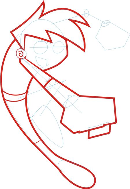 Step 4 : Drawing Danny Phantom. in Easy Steps Lesson