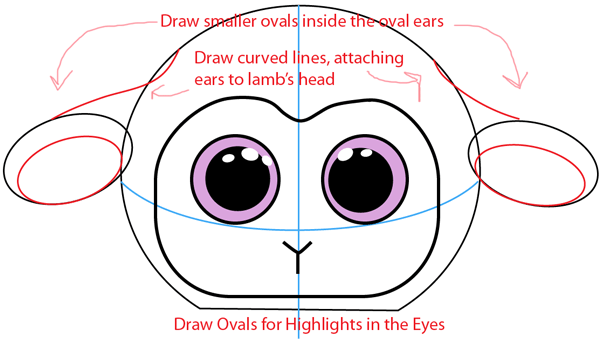 Step 4 : Drawing Baby Lamb in Easy Steps Lesson