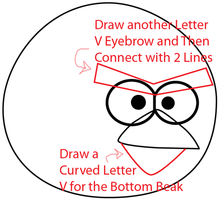 Step 4 : Drawing Red Angry Bird in Easy Steps Lesson