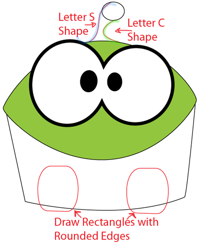 Step 4 : Drawing Om Nom from Cut The Rope in Easy Steps Lesson