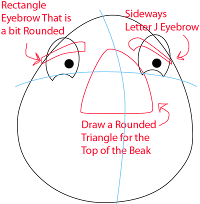 Step 4 : Drawing White Angry Bird in Easy Steps Lesson