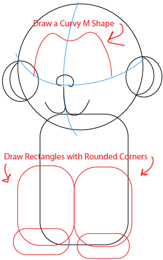 Step 4 : Drawing Baby Anime Monkey in Easy Steps Lesson