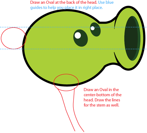 Step 4 : Drawing Pea Shooter from Plants vs. Zombies Game in Easy Steps Lesson