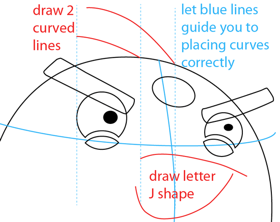 Step 4 : Drawing Black Angry Bird in Easy Steps Lesson