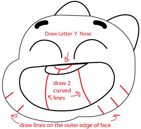 Step 4 : Drawing Gumball from the Amazing Adventures of Gumball Easy Steps Lesson