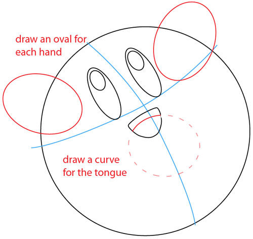Step 4 : Drawing Nintendo's Kirby Easy Steps Lesson