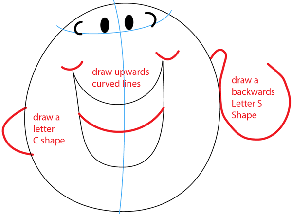 Step 4 : Drawing Mr. Tickle from Mr. Men Children's Book Series Easy Steps Lesson
