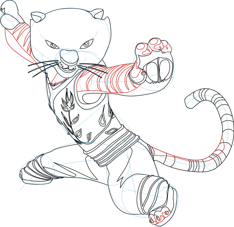 Step 5 : Drawing Master Tigress from Kung Fu Panda in Easy Steps Lesson