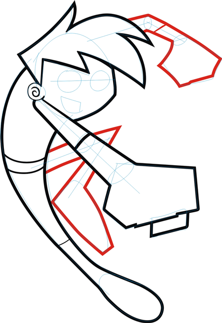 Step 5 : Drawing Danny Phantom. in Easy Steps Lesson