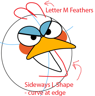 Step 5 : Drawing Blue Angry Bird in Easy Steps Lesson