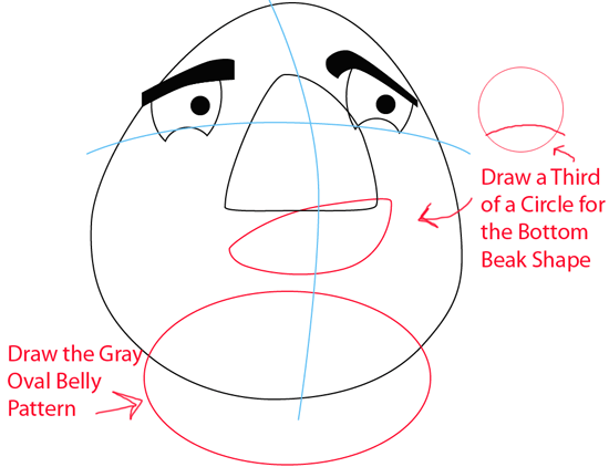 Step 5 : Drawing White Angry Bird in Easy Steps Lesson
