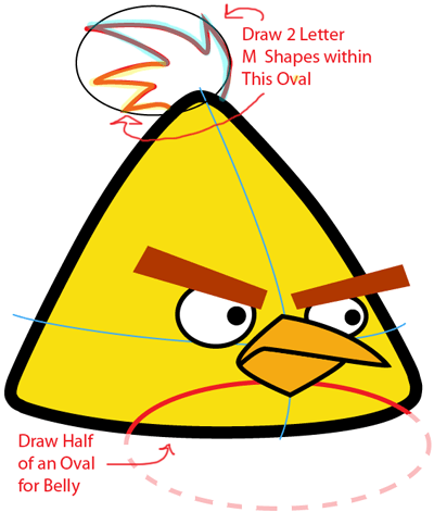 Step 5 : Drawing Yellow Angry Bird in Easy Steps Lesson