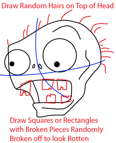 Step 5 : Drawing Zombie from Plants vs. Zombies Game in Easy Steps Lesson