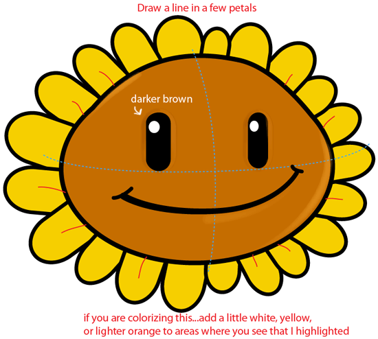 Step 5 : Drawing Sunflower from Plants vs. Zombies Game in Easy Steps Lesson