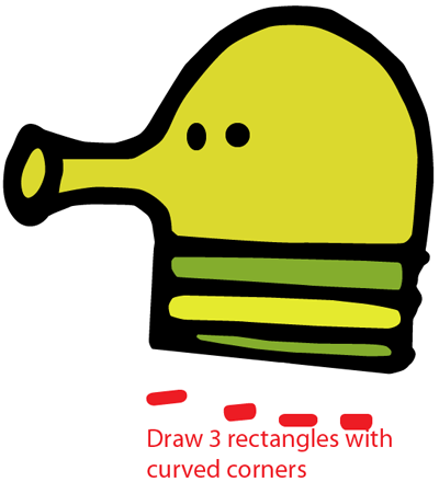 Step 5 : Drawing Doodler from Doodle Jump Game Easy Steps Lesson