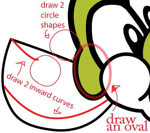 Step 5 : Drawing Nintendo's Baby Yoshi Easy Steps Lesson