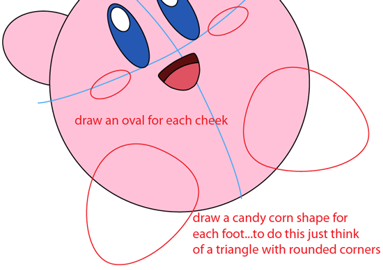 Step 5 : Drawing Nintendo's Kirby Easy Steps Lesson