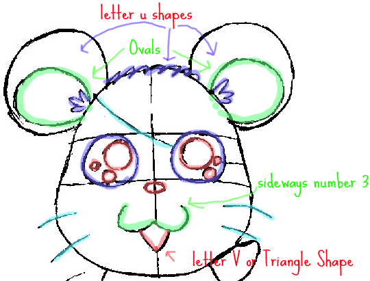 Step 5 : Drawing Hamtaro the Cartoon Pet Hamster in Easy Steps Lesson