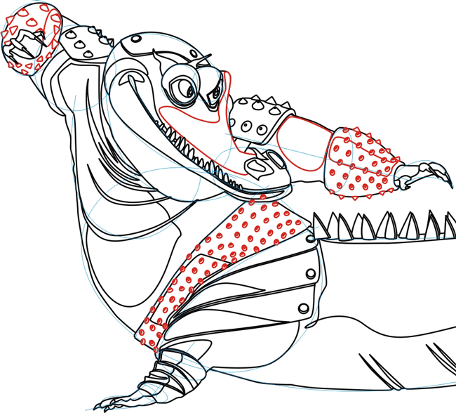 Step 6 : Drawing Master Croc from Kung Fu Panda in Easy Steps Lesson
