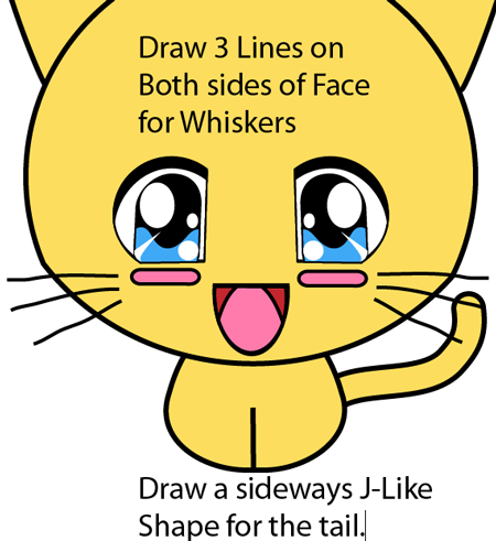 Step 6 : Drawing Baby Anime Kitten in Easy Steps Lesson