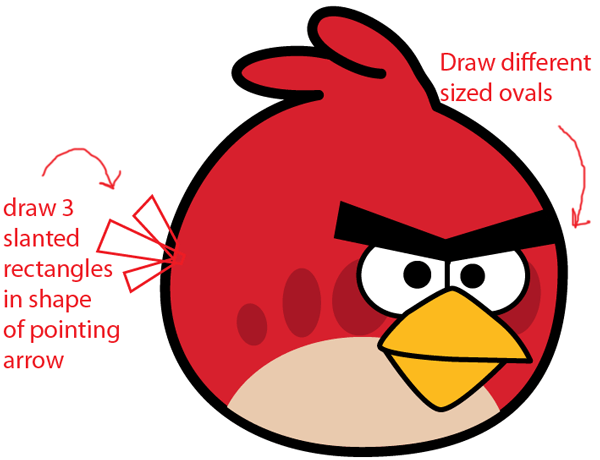 Step 6 : Drawing Red Angry Bird in Easy Steps Lesson