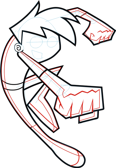 Step 6 : Drawing Danny Phantom. in Easy Steps Lesson