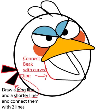 Step 6 : Drawing Blue Angry Bird in Easy Steps Lesson