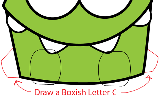 Step 6 : Drawing Om Nom from Cut The Rope in Easy Steps Lesson