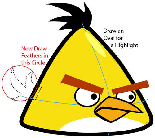 Step 6 : Drawing Yellow Angry Bird in Easy Steps Lesson