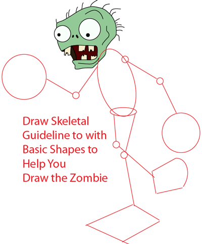 Step 6 : Drawing Zombie from Plants vs. Zombies Game in Easy Steps Lesson