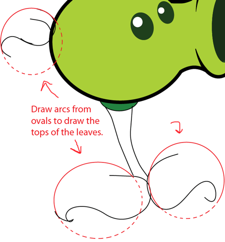 step 6 drawing pea shooter from plants vs zombies game in easy steps lesson