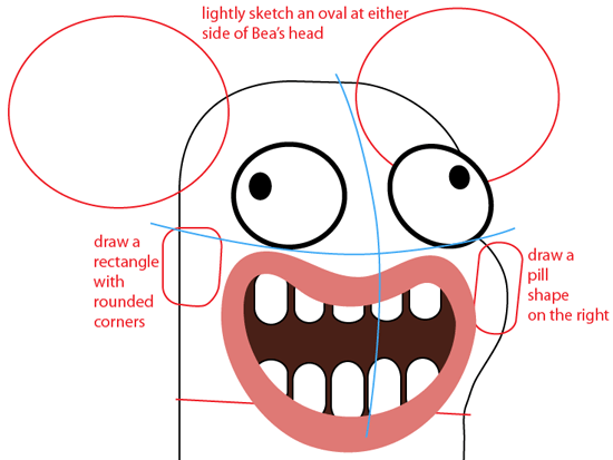 Step 6 : Drawing Bea from Disney's Fish Hooks Easy Steps Lesson