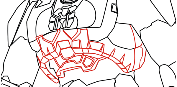 Step 6 : Drawing Master Chief from Halo in Easy Steps Lesson