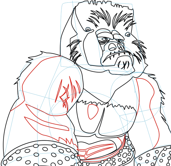Step 7 : Drawing Cartoon Gorilla in Shen's Gorilla Army from Kung Fu Panda 2 in Easy Steps Lesson