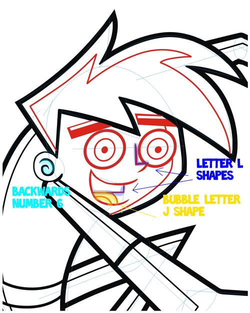 Step 7 : Drawing Danny Phantom. in Easy Steps Lesson