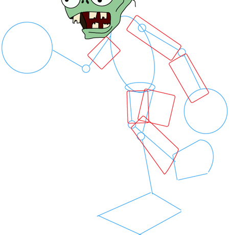 Step 7 : Drawing Zombie from Plants vs. Zombies Game in Easy Steps Lesson