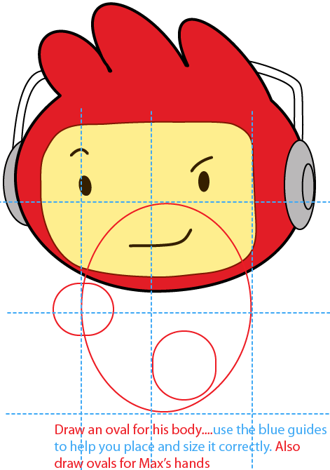 Step 7 : Drawing Max from Scribblenautsin Easy Steps Lesson
