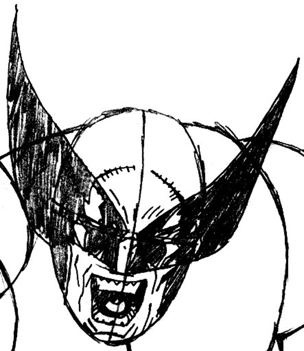 Step 7 : Drawing Wolverine from Marvel's X-Men Superhero Team Easy Steps Lesson