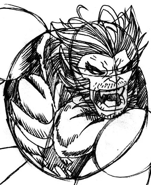 Step 7 : Drawing Beast from Marvel's X-Men Superhero Team Easy Steps Lesson