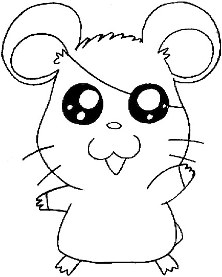 Step 7 : Drawing Hamtaro the Cartoon Pet Hamster in Easy Steps Lesson