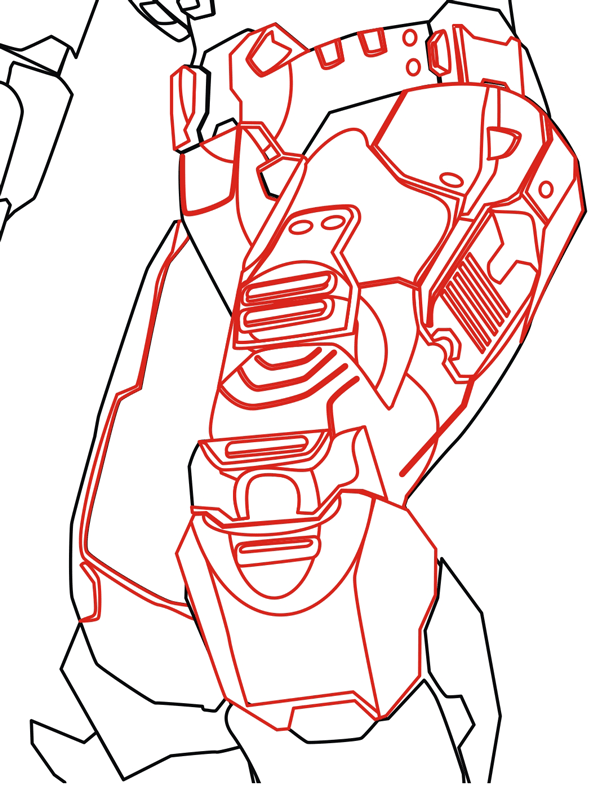 Step 7 : Drawing Master Chief from Halo in Easy Steps Lesson